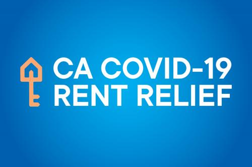 CA Rent Relief Program logo on a blue background