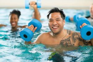Member engaged in water aerobics.